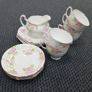 VTG Grafton China hand painted floral tea set